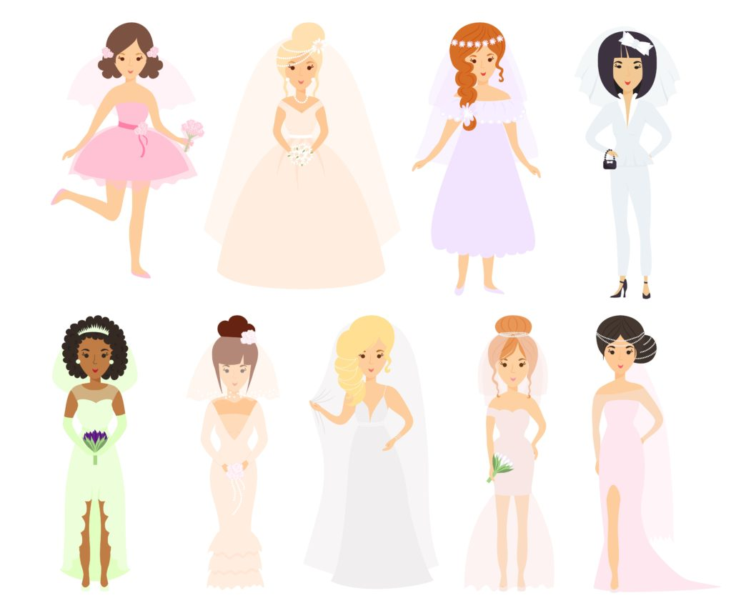 Wedding brides characters vector.