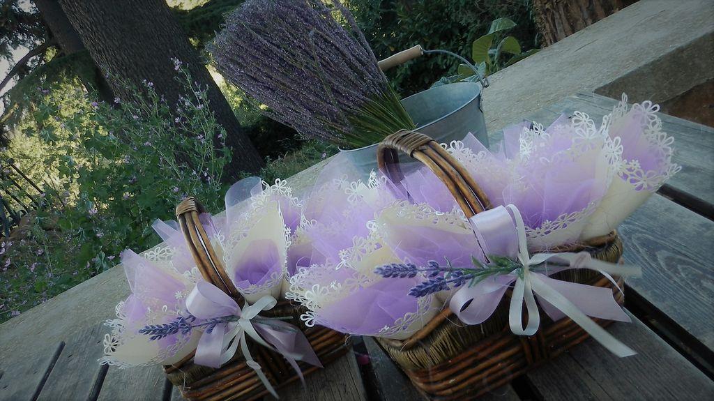 cestini con conetti portariso decoro lavanda