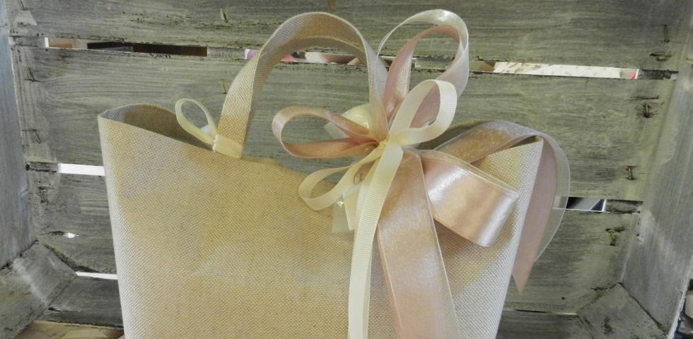 wedding bag in tessuto - cotone e lino - nastro rosa polvere