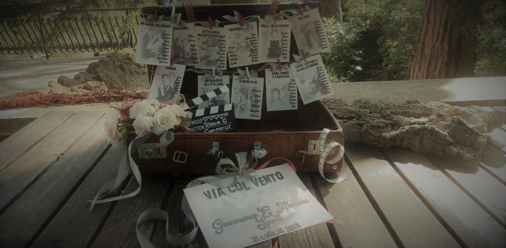 tableau de mariage vintage - valigia con film anni 50