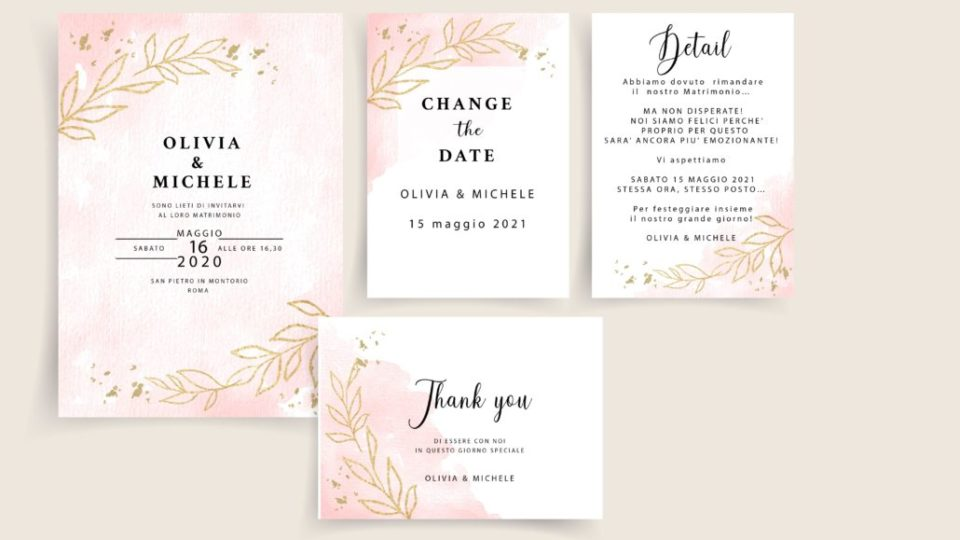 set invitation rosa e oro foglia CHANGE THE DATE