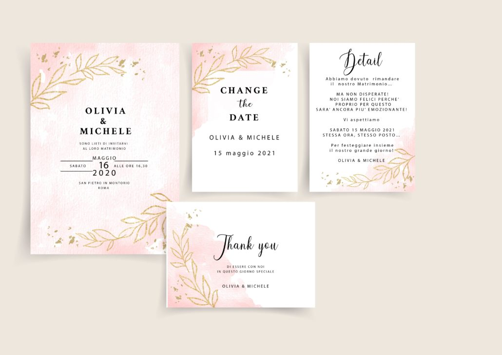 set invitation rosa e oro foglia CHANGE THE DATE