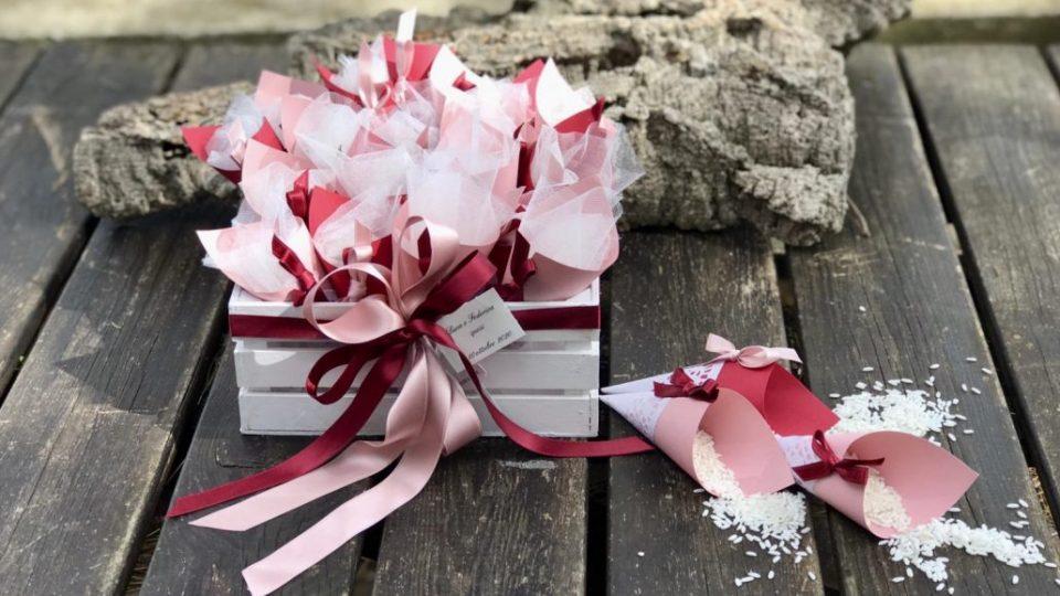 cassetta conetti riso rosa bordeaux